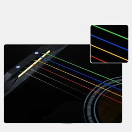 NEW One Set 6pcs Rainbow Colorful Color Strings For Acoustic Guitar  AccessoryGG 5