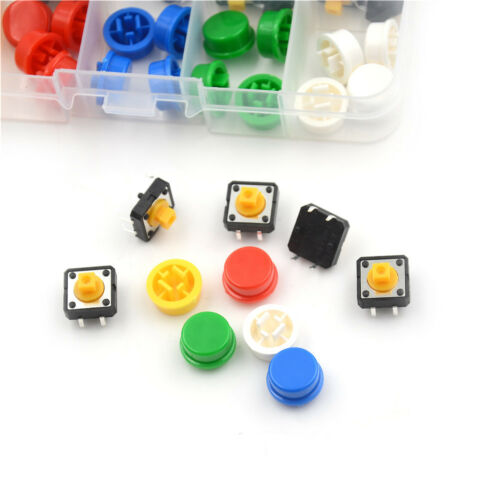 25Set Momentary Tactile Push Button Touch Micro Switch 4P PCB Cap 12x12x7.3mm TW 3