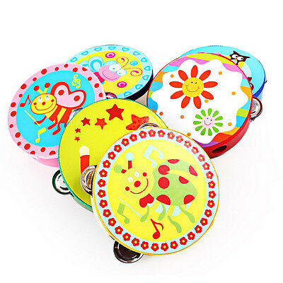 Baby Kids Wooden Musical Toys Drum Rattles Toy Tambourine Educational Toy@fP xc