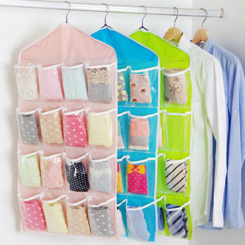 Pockets Foldable Wardrobe Hanging Bags Socks Clothing Hanger Shoes Storage Bag F 5