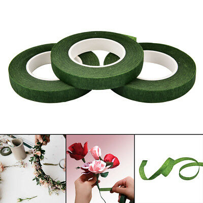 Durable Rolls Waterproof Green Florist Stem Elastic Tape Floral Flower 12mm PD 3