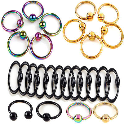 2x Romantic Nose Ring Lip Ear Nose On Ball Piercing Nose Lip Hoop Earring ZY