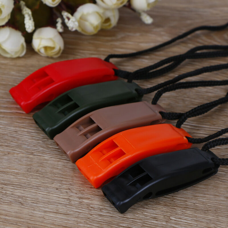 5pcs/set Dual Band Survival Whistle Lifesaving Emergency Whistle With Rope. 2