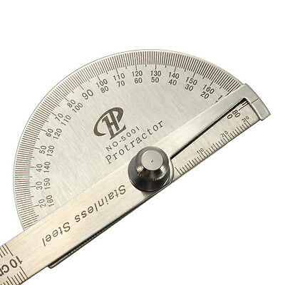 Stainless Steel 180 degree Protractor Angle Finder Arm Measuring Ruler Tools PN 4
