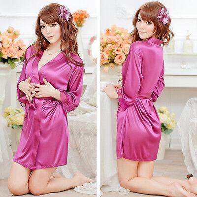 Nightwear Kimono Sexy Nightwear Silk Satin Lace Dressing