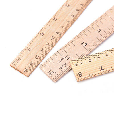 Double Side Wooden Ruler Wood Carpenter Inch Scales /& Metric Scales Tools ME