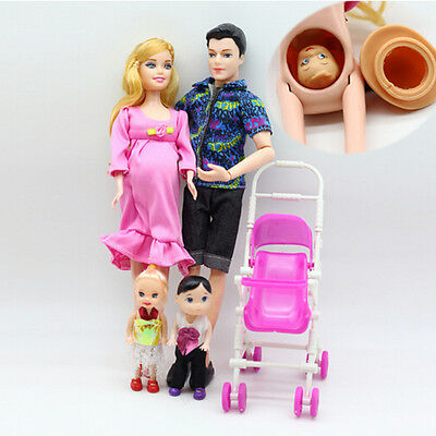 UK 6pcs/lot Dolls Family Educational Real Pregnant Doll Happy Family for Barbie 4