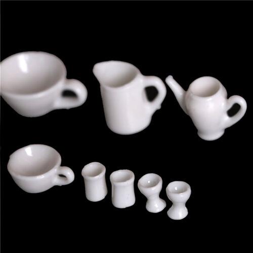 10pcs Dollhouse Miniature Dining Ware Tea Set Dish Cup Plate 3C 4