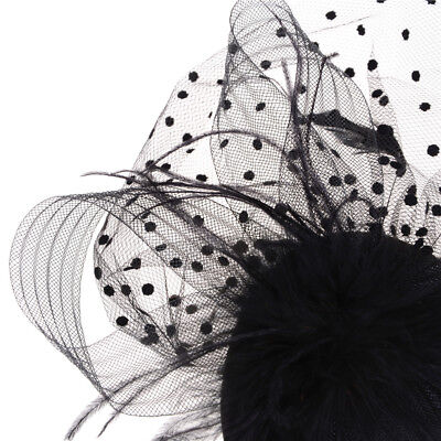 Elegant Lady Top Net Mesh Birdcage  Feather Fascinator Hairpin Hat Clip YNFK 6