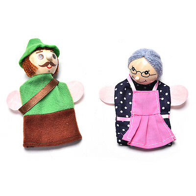 4 Pcs//set Little Red Riding Finger Puppets Wooden Headed Baby Educational Toy EF