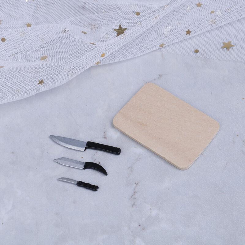 4 Stücke 1:12 Puppenhaus miniaturen küche Schneidebrett Messer set mini spielUE