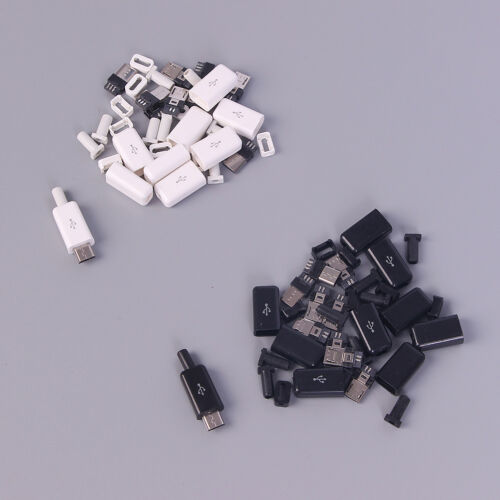 10Pc Micro USB 5Pin Welding Type Male Plug Connectors Charger Plug white blac ER 3