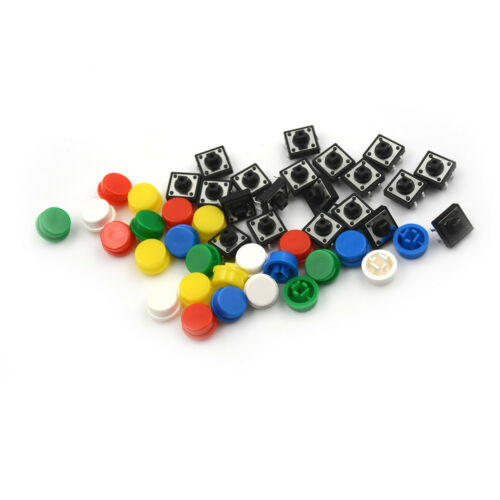 20Set Momentary Tactile Push Button Touch Micro Switch 4P PCB Caps12x12x7.3mm ~. 6