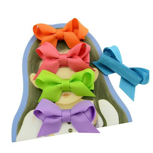 20PCS Baby Girls Hair Bows Boutique Alligator Clip Grosgrain Ribbon Hairpins LS 4