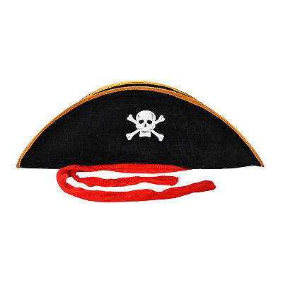 Pirate Captain Hat Skull Crossbone Cap Costume Fancy Dress Party HalloweenUK YH
