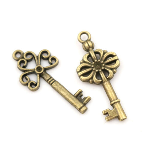 18pcs Antique Old Vintage Look Skeleton Keys Bronze Tone Pendants Jewelry DIY Sg 6