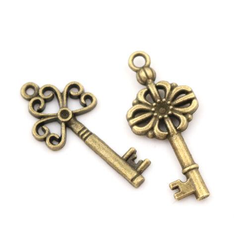18pcs Antique Old Vintage Look Skeleton Keys Bronze Tone Pendants Jewelry DIY RR 6