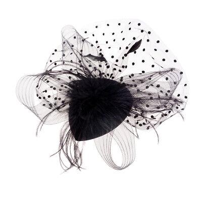 Elegant Lady Top Net Mesh Birdcage  Feather Fascinator Hairpin Hat Clip YNFK 3
