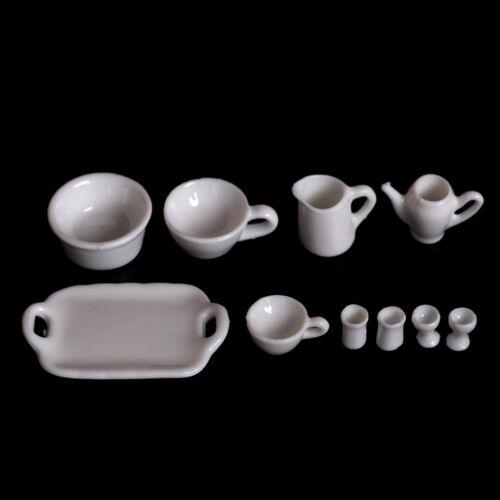 10pcs Dollhouse Miniature Dining Ware Tea Set Dish Cup Plate 3C 2