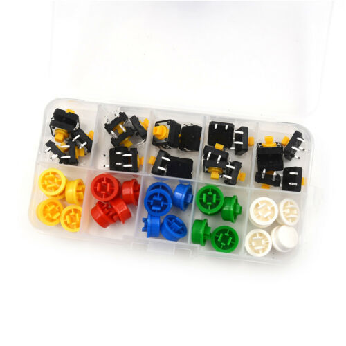 25Set Momentary Tactile Push Button Touch Micro Switch 4P PCB Cap 12x12x7.3mm TW 2