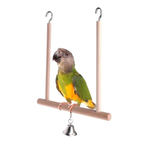 Birds Perch Parrot Play Toy Stand Holder natural Wooden Swing Bell Cage Hangi KY 2
