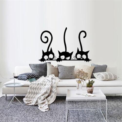 ADESIVI MURALI STACCABILI tre gatti neri decalcomania murale ...
