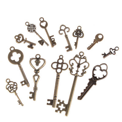 13pcs Mix Jewelry Antique Vintage Old Look Skeleton Keys Tone Charms Pendants KQ 3