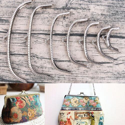 Retro Alloy Metal Flower Purse Bag DIY Craft Frame Kiss Clasp Lock Bronze SW
