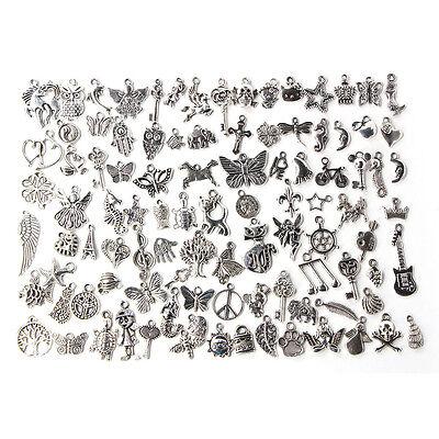 100pcs Bulk Tibetan Silver Mix Charm Pendants Jewelry Making DIY 2