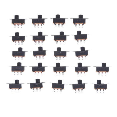 Black 20pcs 5V 0.3A SS12F32 Mini SPDT Slide Switch for Small DIY Power AD AS 2