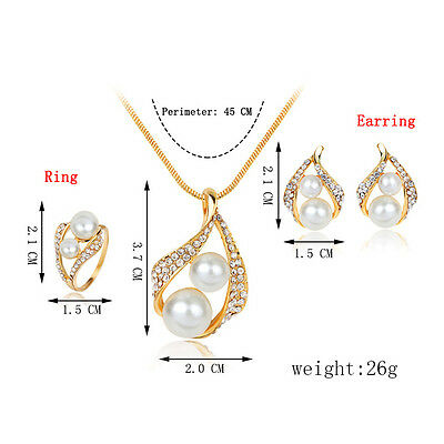 New Bridal Bridesmaid Wedding Jewelry Set Crystal Pearl Necklace Earrings Ring B 4