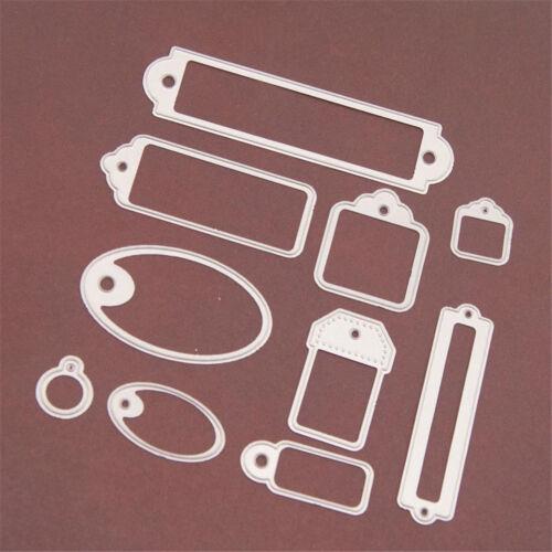 10pcs//Frame Metal Tag Schneidwerkzeuge Scrapbooking Präge Paper Card Craft ZJP