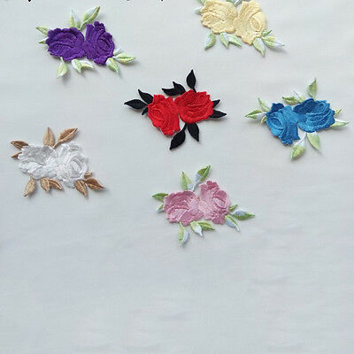 Rose Flower Leaves Embroidery Iron On Applique Patch  abordada apliques xc 2