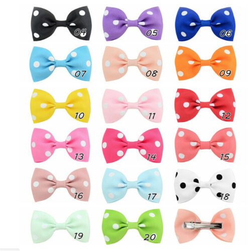 20Pcs Baby Girls Dot Hair Bows Band Boutique Alligator Clip Grosgrain Ribbon BS 7