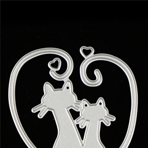 Love Cat Design Metal Cutting Dies For DIY Scrapbooking Album Paper Card Cw 7