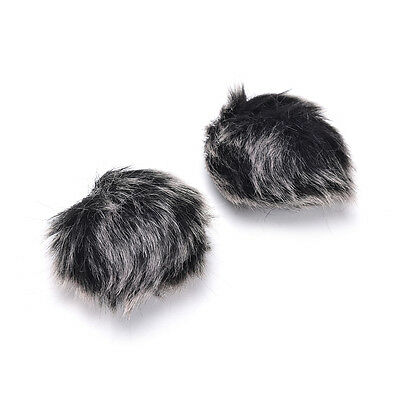 Black Fur Windscreen Windshield Wind Muff for Lapel Lavalier Microphone Mic 3C 6