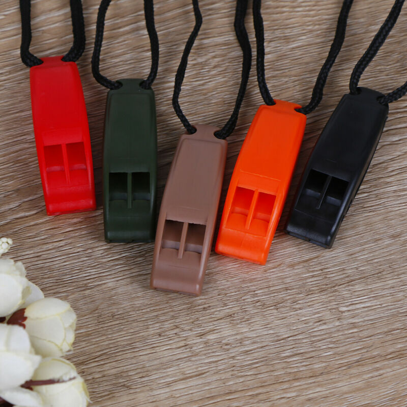 5pcs/set Dual Band Survival Whistle Lifesaving Emergency Whistle With Rope. 5