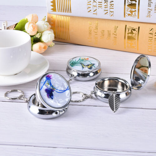Creative Round Cigarette Keychain Portable Stainless Steel Pocket Ashtray fi 4