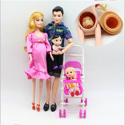 UK 6pcs/lot Dolls Family Educational Real Pregnant Doll Happy Family for Barbie 5