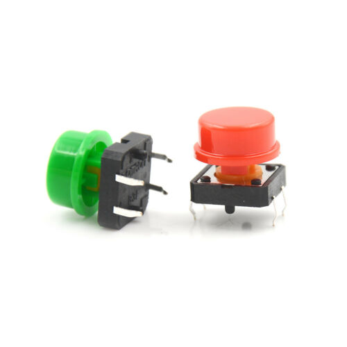 25Set Momentary Tactile Push Button Touch Micro Switch 4P PCB Cap 12x12x7.3mm TW 4