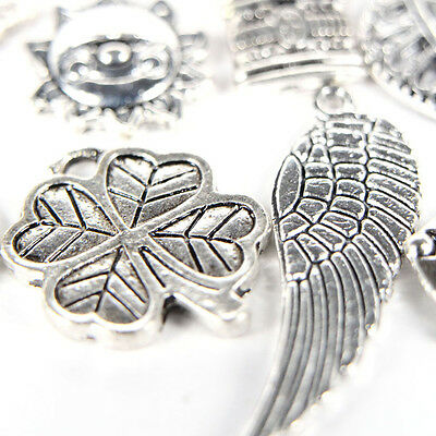 100pcs Bulk Tibetan Silver Mix Charm Pendants Jewelry Making DIY 8