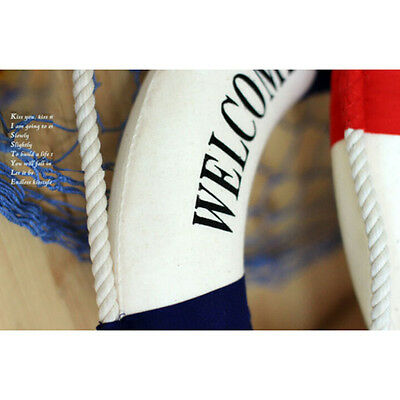 1pc Welcome Aboard Nautical Life Lifebuoy Ring Boat Wall Hanging Home Decor BSCA