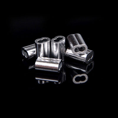 50pcs 1.5mm Cable Crimps Aluminum Sleeves Cable Wire Rope Clip Fitting~PL 5