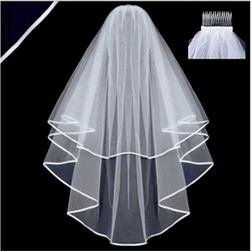 Elegant White Elegant Beauty Two Layers Short Net Tulle Bride Veil For Wedding 3