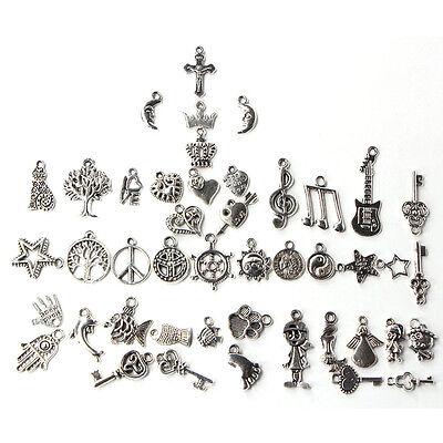 100pcs Bulk Tibetan Silver Mix Charm Pendants Jewelry Making DIY 7