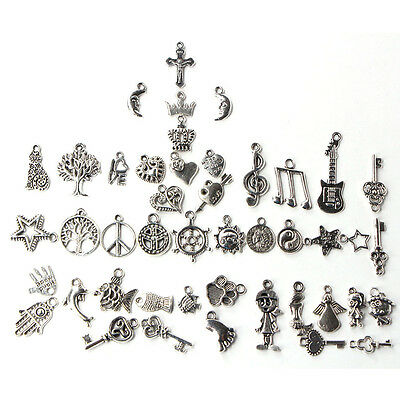 Wholesale Bulk Lots Tibetan Silver Mix Charm Pendants Jewelry DIY Finding 7