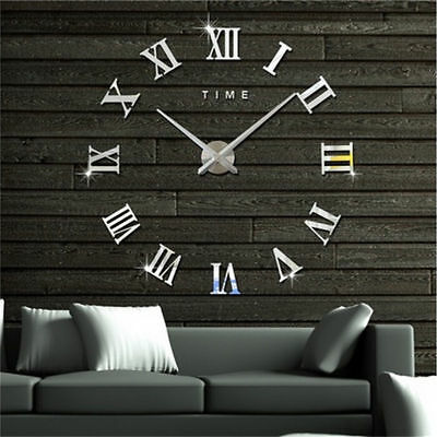 DIY 3D Large Number Mirror Wall Clock Sticker Decor for Home Office Kids Room 3