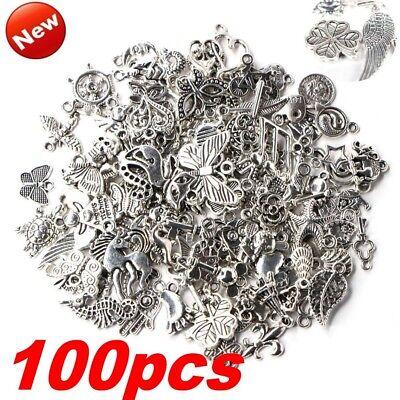 Lots 100pcs Bulk Tibetan Silver Mix Charm Pendants Jewelry Making DIY