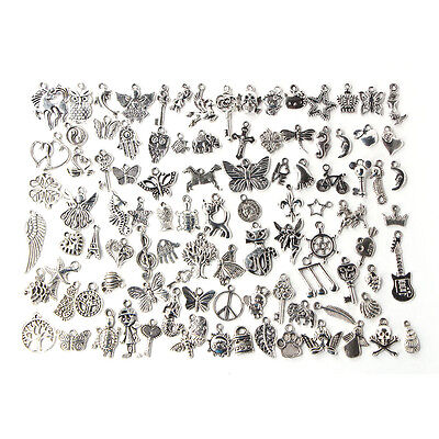 100pcs Bulk Tibetan Silver Mix Charm Pendants Jewelry Making DIY 3