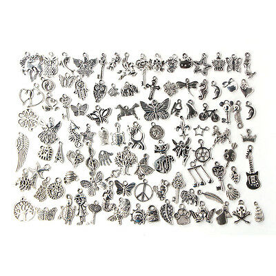 Lots 100pcs Bulk Tibetan Silver Mix Charm Pendants Jewelry Making DIY Craft Xmas 10
